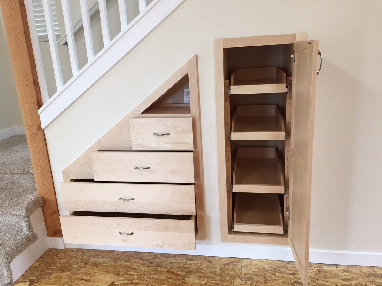 I love to build drawers for under the stairs.