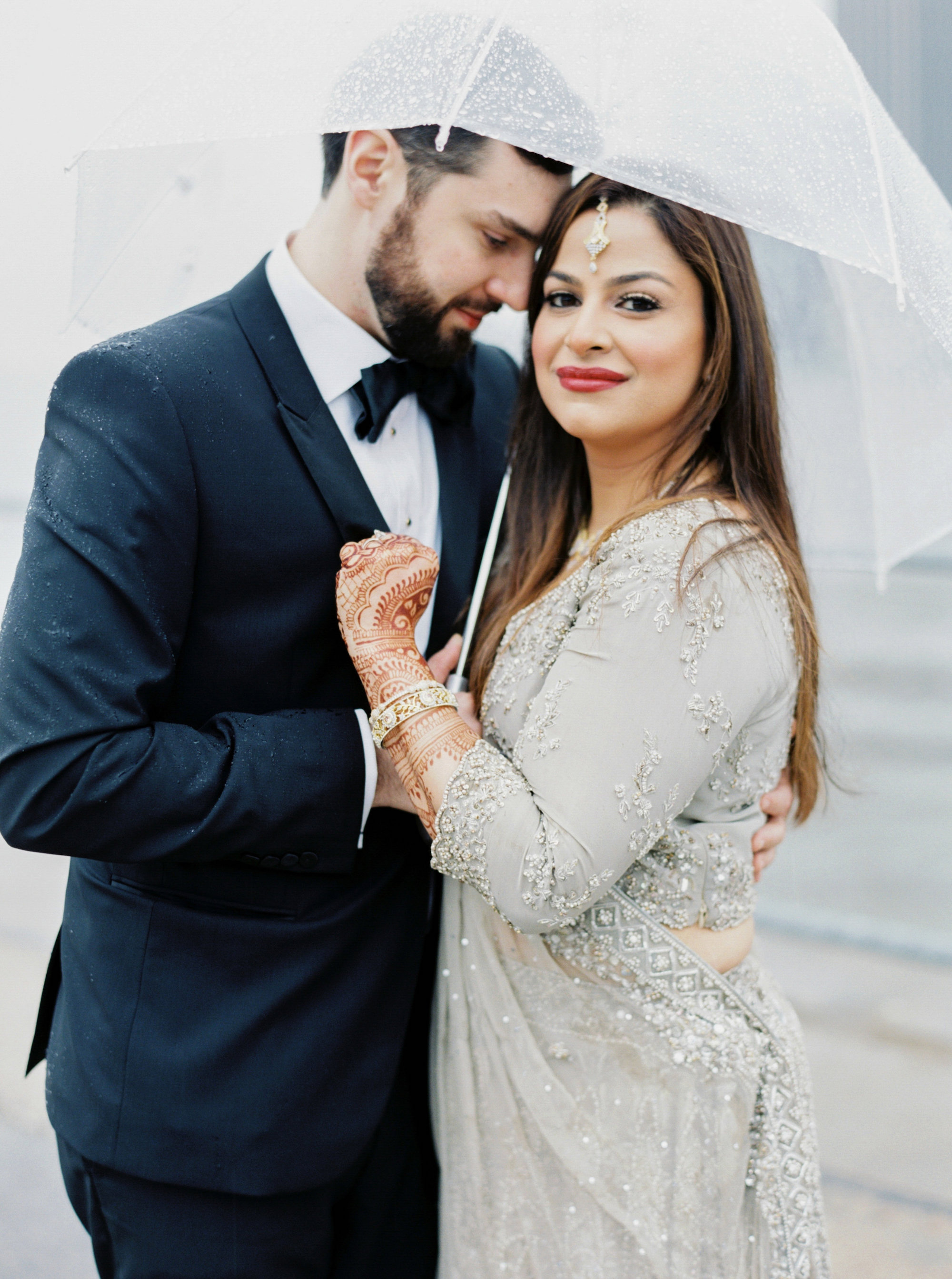 Rainy Day Couple Portrait | Colorful & Sweet Brooklyn Wedding | The Green Building