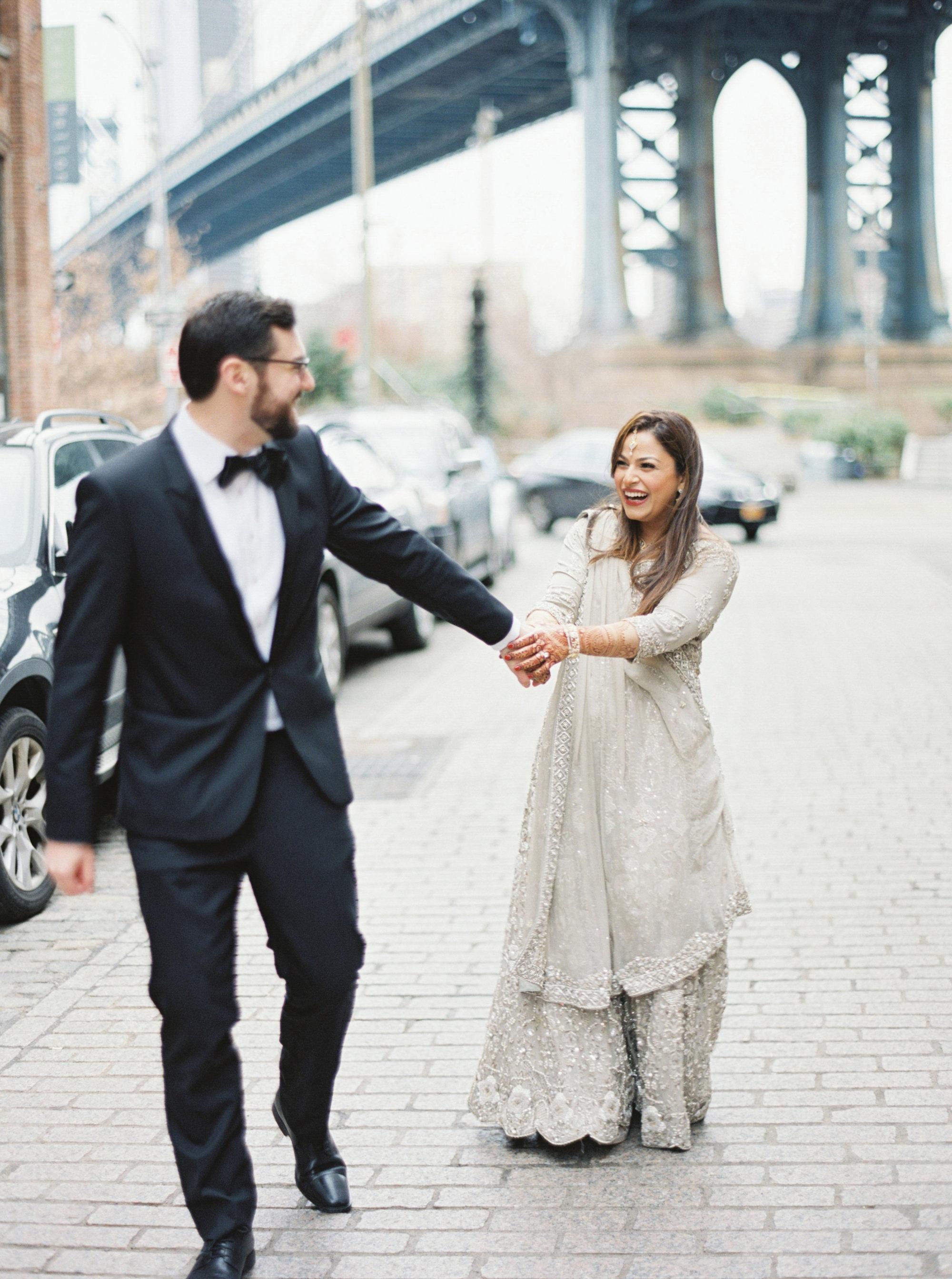 Fun Couple Portrait | Colorful & Sweet Brooklyn Wedding | The Green Building