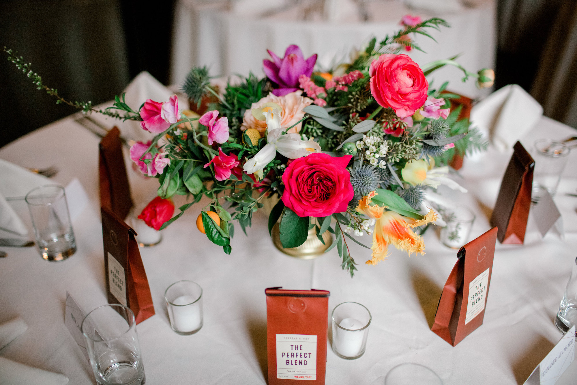 Bright Centerpiece | Tablescape | Colorful & Sweet Brooklyn Wedding | The Green Building