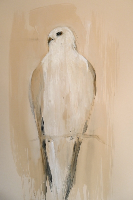 """White Tailed Kite in Tree,"" 2013  Korean watercolor and graphite   30 x 22 inches"