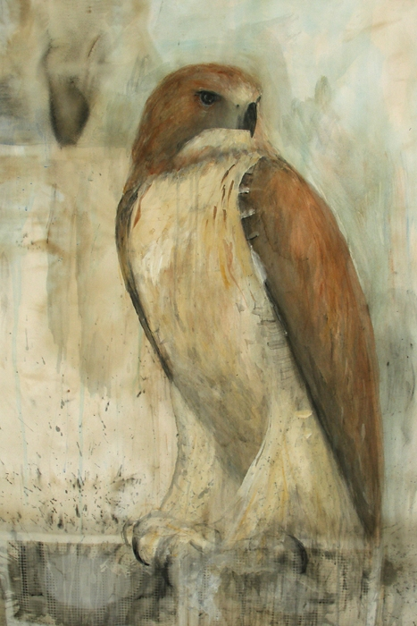 """Dawn (Red Tail),"" 2008 Coffee and sumi-e ink on folio paper 50"" x 38"""