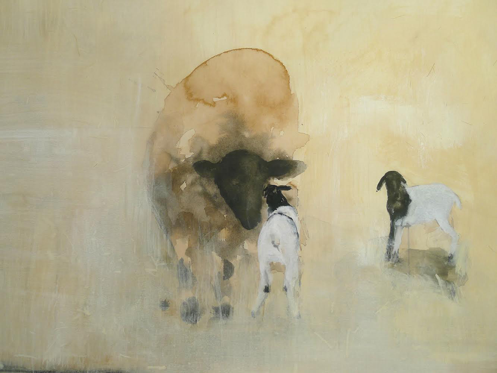 """""""Pescadero Lamb AP 6,"""" 2014 Hand-painted artist's proof on German etching paper 16 x 26"""