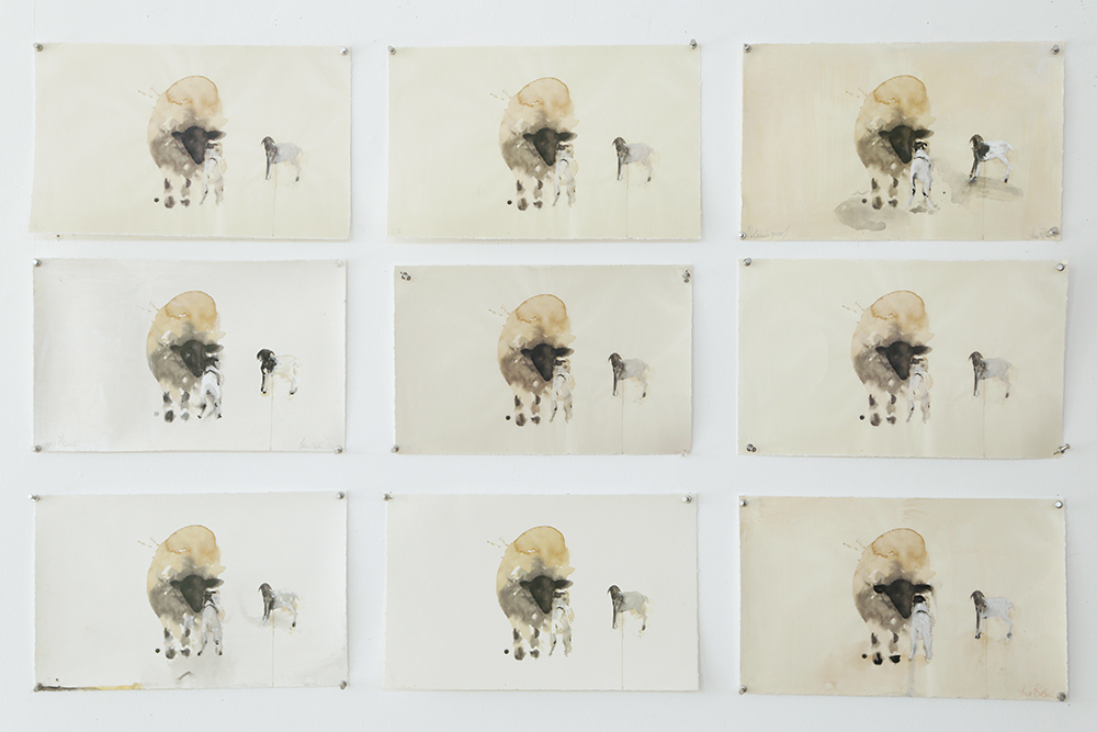 """""""Pescadero Lamb Proof Grid,"""" 2014 Hand painting on archival pigment prints 33 x 52 inches, 10 x 16 inches each"""
