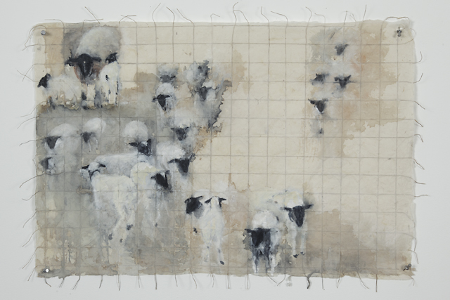 """""""Quilted Lamb,"""" 2010 Korean watercolor, sumi-e ink, and coffee on Japanese paper 20 x 30"""