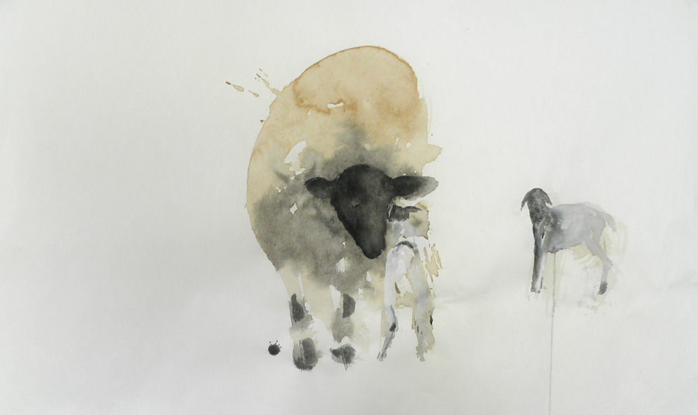 """""""Lamb for Gaines,"""" 2010 Korean watercolor, sumi-e ink, and coffee on Japanese paper 24.5"""" x 39"""""""