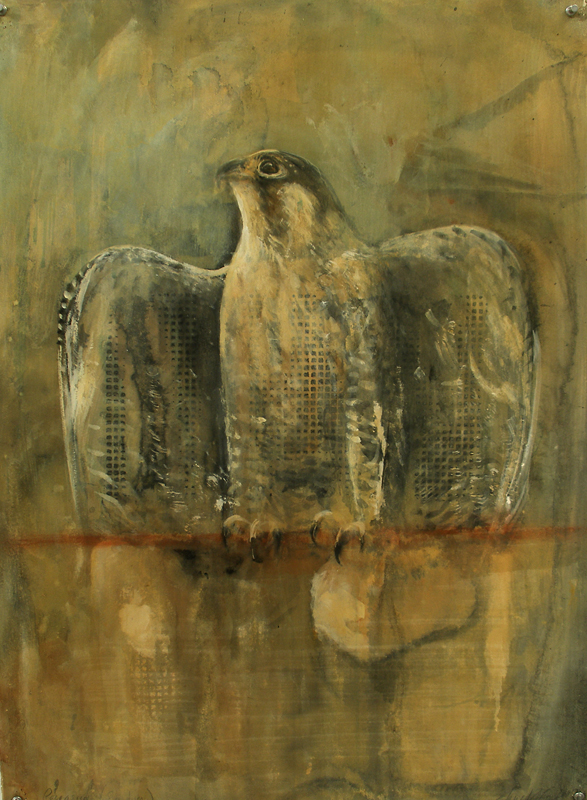 """Peregrine (Mantle),"" 2007 Casein and ink on paper 30""x22"""