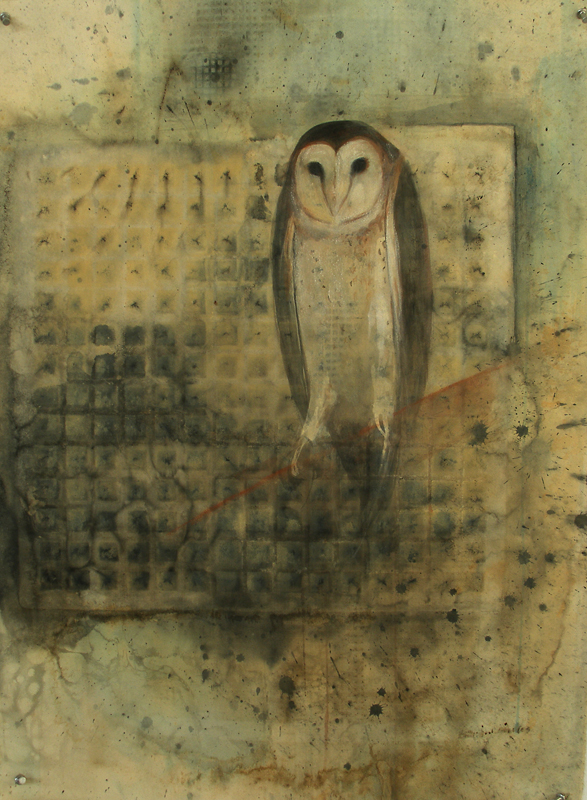 """Barn Owl,"" 2007 Casein and ink on paper 30""x22"""