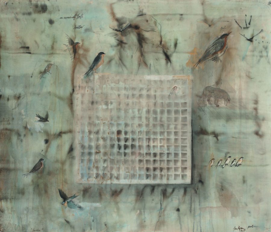 """""""Swallow,"""" 2007 Casein, ink, and charcoal on paper 36"""" x 42"""""""