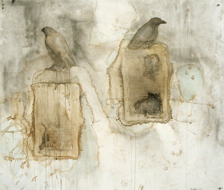 """""""Hawk/Raven (Philip Guston),"""" 2008 Coffee, ink, and pigment on Arches paper 48 x 52"""
