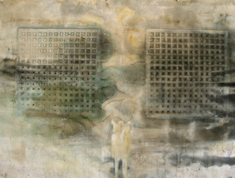 """""""Split Second,"""" 2007 Casein and ink on paper 38"""" x 50"""""""