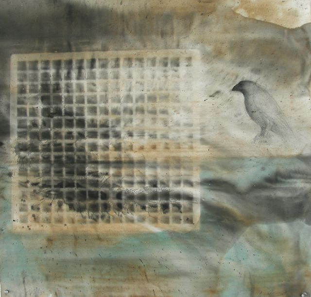 """""""Half Life,"""" 2007 Casein, ink, and charcoal on paper 30"""" x 30"""""""