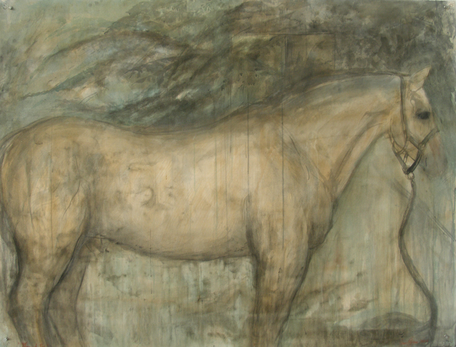 """""""Ground Tie,"""" 2007 Casein, ink, and charcoal on paper 38"""" x 50"""""""