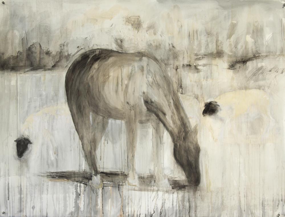 """Rosa Bonheur II,"" 2010 Coffee, casein, and ink 38"" x 50"""
