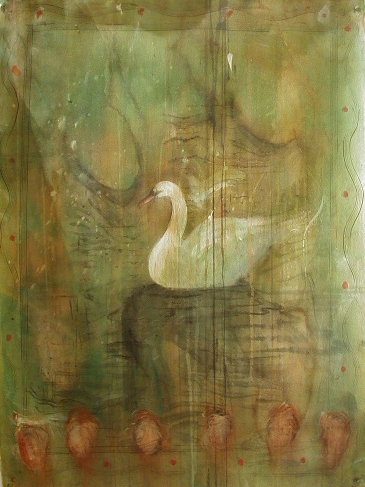 """""""Bird Map / Swan"""", 2002 Casein and ink on paper 30"""" x 22"""""""