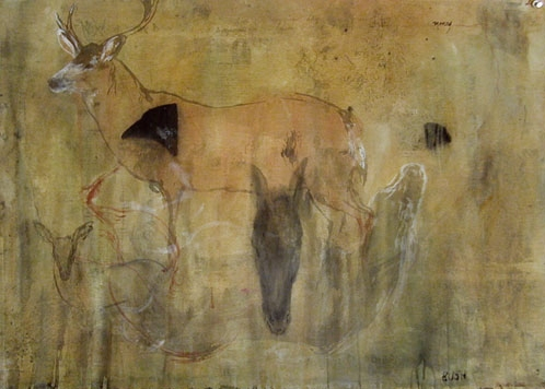 """""""Pope Series / Deer"""", 2001 Casein, ink and beeswax on paper 22"""" x 30"""""""