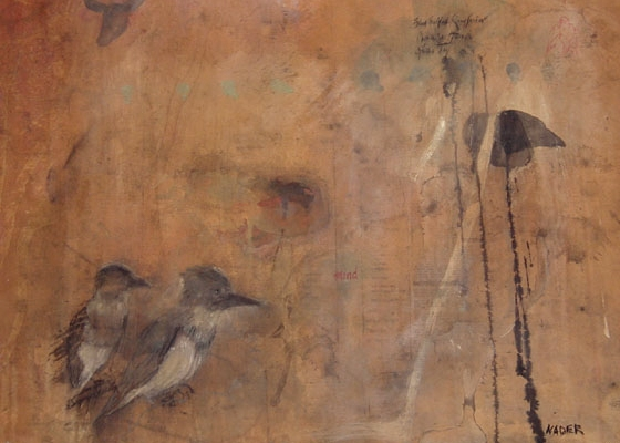 """""""Pope Series / Kingfisher"""", 2001 Casein, ink and beeswax on paper 22"""" x 30"""""""