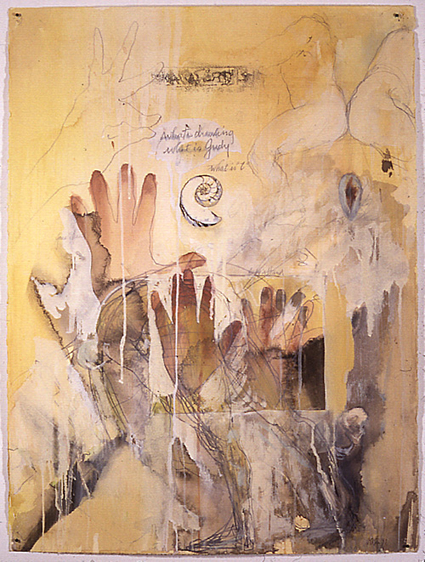 """""""What is Judy"""", 1998 Casein and ink on paper 30"""" x 22"""""""