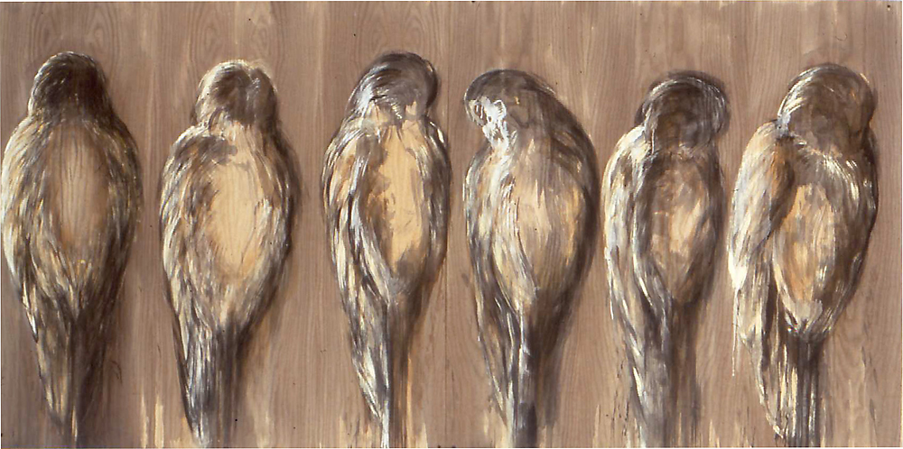 """Owl"", 1992 Ink and casein on redwood panel 48"" x 96"""
