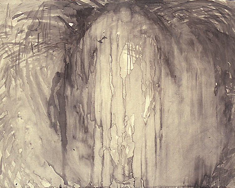 """Cathedral"", 1989 Ink wash on paper 38"" x 50"""