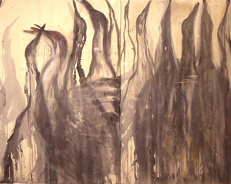 """Cranes"", 1989 Ink and watercolor on paper 53"" x 85"""