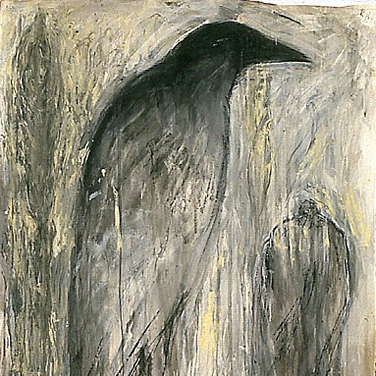 """Paul's Crow"", 1989 Chalk, gouache and ink on paper 41"" x 55"""
