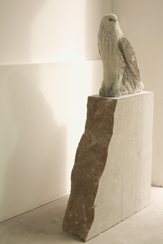 """""""White Kite,"""" 2010 Provencal and fossil limestone with sumi-e ink 50 x 8 x 27 inches"""