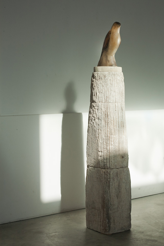 """""""Dervish Bird,"""" 2011 Hand blown pigmented glass and limestone 65 x 10 x 13 inches"""