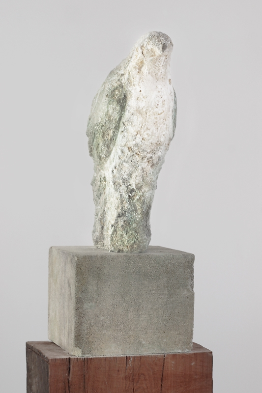 """""""Fossil Bird,"""" 2010  Limestone and recycled redwood"""