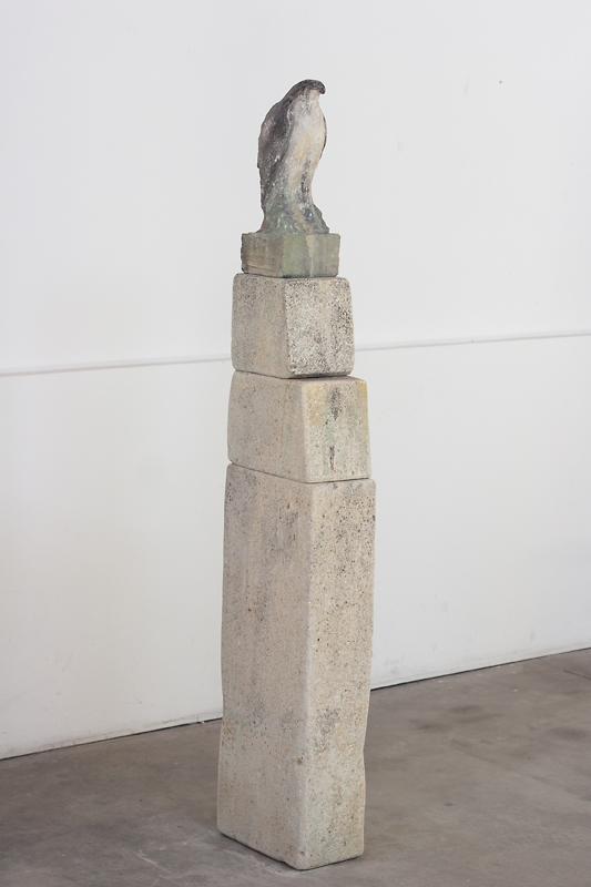 """""""Stella Dallas Bird,"""" 2014 Limestone and pigment 62.5 x 12 x 6.5 inches"""