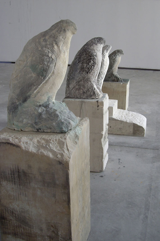 """Osprey,"" ""Egyptian Falcon,"" ""Bird Man,"" ""Amber,"" 2007 Provencal limestone, casein, and sumi ink Installation, dimensions variable"