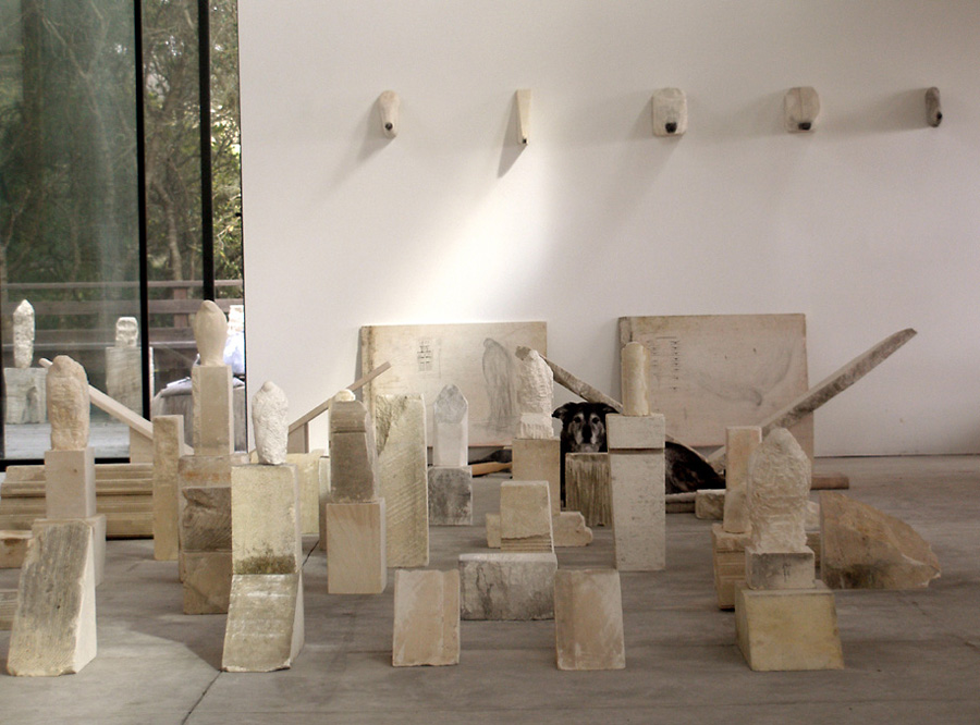 """Egyptian Wing (for Paul),"" Studio View with Mayo, 2006 Provencal limestone and mixed media"