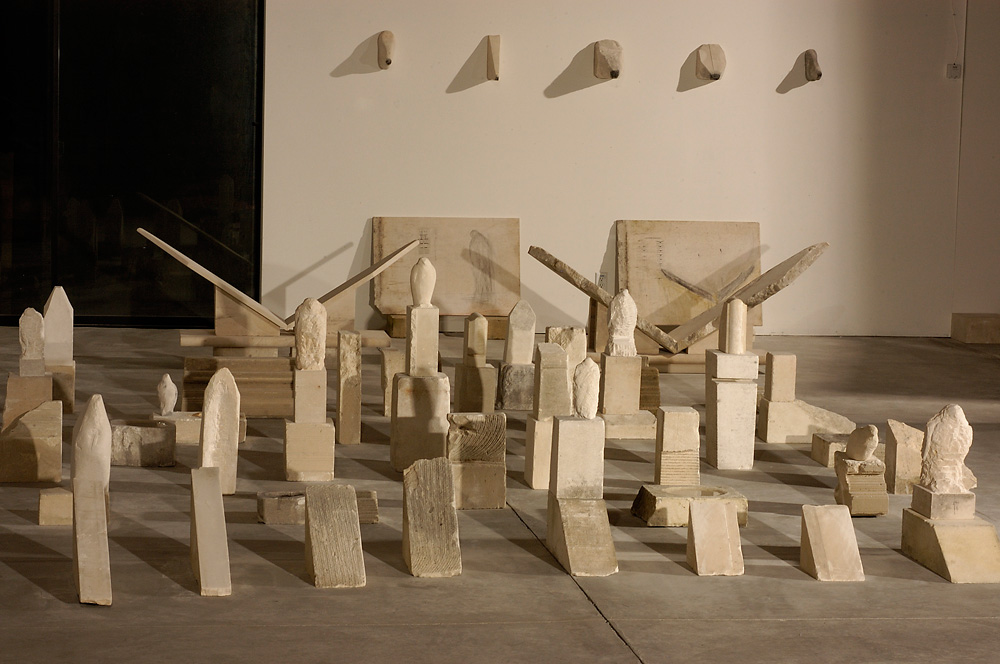 """Egyptian Wing (for Paul),"" Studio View at Night, 2006 Provencal limestone and mixed media"