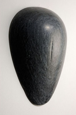 """Pregnant Belly,"" 2005 Hand-carved black Portuguese marble, painted wood base 8 x 14 x 9 inches"