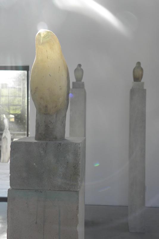 """Glass Fossil Bird,"" 2010 Hand blown glass and pigmented provencal limestone Gaffer: Ross Richmond 68.5 x 6.5 x 20 (Bird alone: 9 x 3.5 x 5.5)"