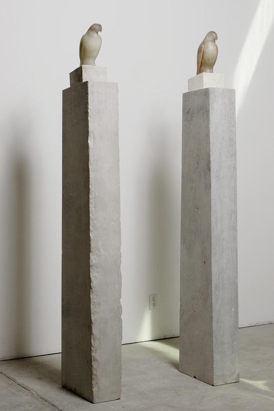 """Grey White Columns,"" 2010 (Installation) Hand blown glass and limestone Gaffer: Ross Richmond 90 x 48 x 8.5"