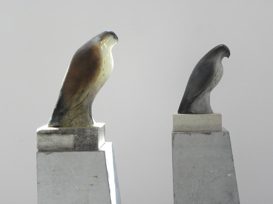 """""""Monk Birds,"""" 2010 (Detail) Hand blown pigmented glass and limestone Gaffer: Ross Richmond 64 x 8 x 14.5 (each)"""