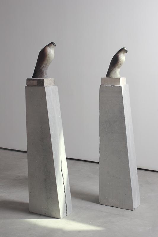 """""""Monk Birds,"""" 2010 Hand blown pigmented glass and limestone Gaffer: Ross Richmond 64 x 8 x 14.5 (each)"""