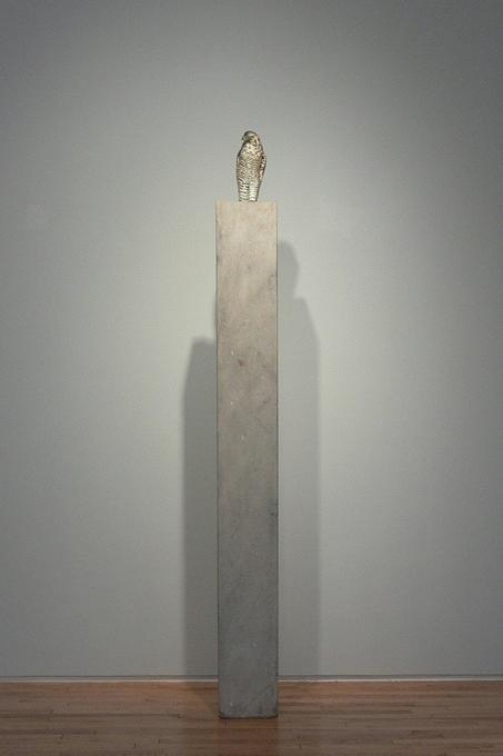 """""""Goshawk,"""" 2008 (Installed at Danese, 2010) Hand blown pigmented glass and provencal limestone Gaffer: Karen Willenbrink-Johnsen 78 x 8 x 11"""