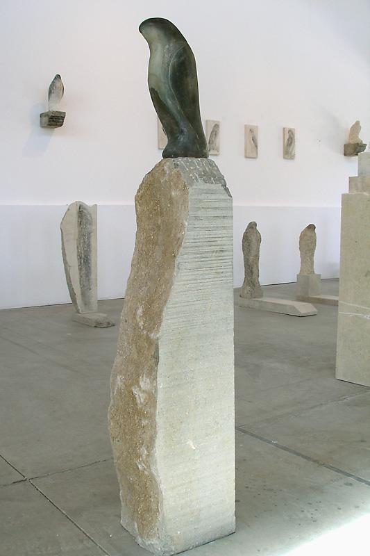 """Cut Glass Bird,"" 2008 Blown solid glass on grey limestone base Gaffer: Karen Willenbrink-Johnsen 49 x 8 x 10"