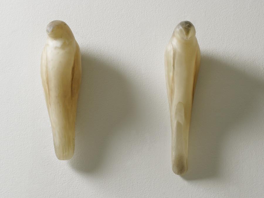 """""""Golden Birds 1 and 2,"""" 2008 Hand blown glass and pigment Gaffer: Karen Willenbrink-Johnsen Left: 12 x 4 x 4; Right: 14 x 4 x 4"""