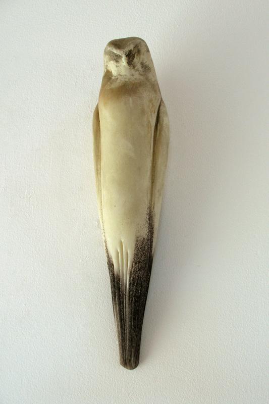 """""""Glass Hawk,"""" 2008 Hand blown glass and pigment Gaffer: Karen Willenbrink-Johnsen 18 x 5 x 4"""