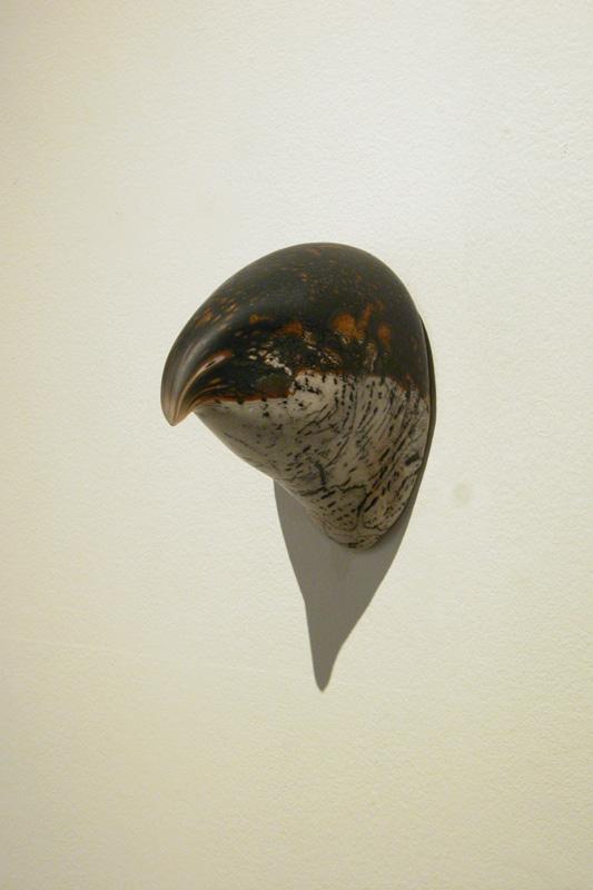 """""""Goshawk Head,"""" 2008 Handblown glass and pigment Gaffer: Karen Willenbrink-Johnsen 6 x 4 x 5"""