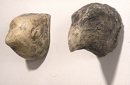 """Bear"" and ""Hawk,"" 1999 Mixed media 9 x 5 x 10 inches (each)"