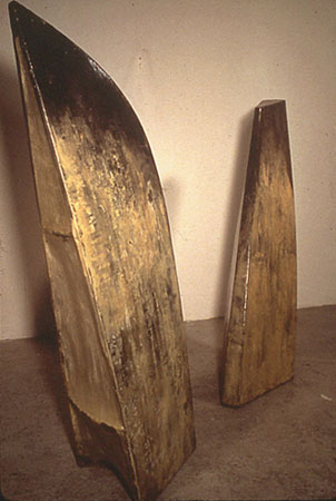 """Left Wing / Right Wing,"" 1992 Resin, fiberglass, wood left: 70 x 20 x 24 inches right: 75 x 20 x 20 inches"