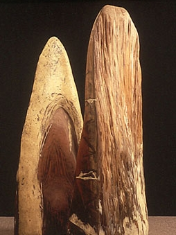 """""""Hand / Wing,"""" 1990 Redwood, mixed media 60 x 28 x 14 inches (left) 55 x 78 x 5 inches (right)"""
