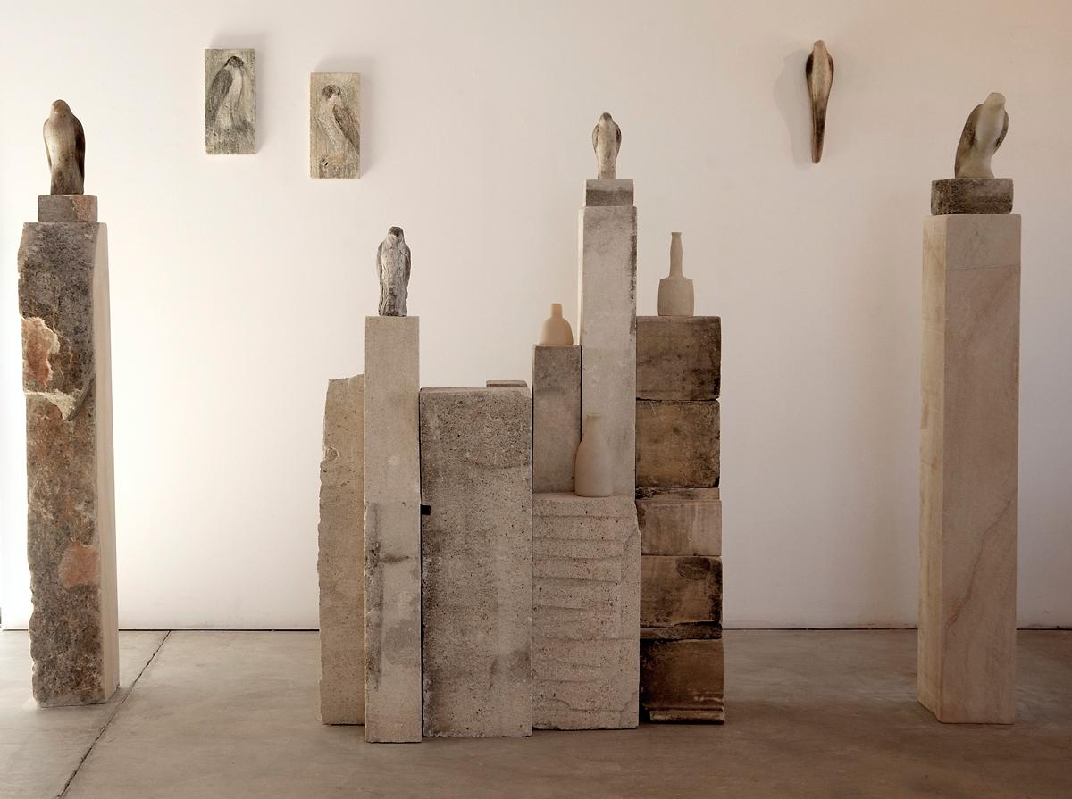 """Morandi Installation,"" 2012 Blown glass, limestone, and pigment 72 x 220 x 24"