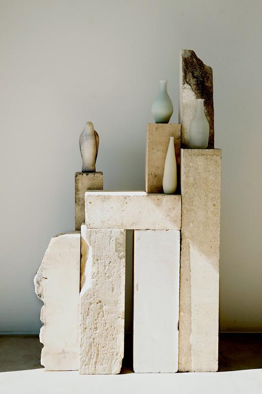 """4 Morandi"" Installation & detail, 2013 Hand blown pigmented glass & limestone 58 x 31 x 16"