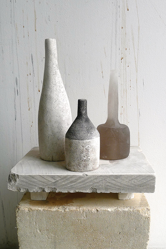 """""""Stone Vessel Table,"""" 2015 Kiln cast glass, limestone, marble, and pigment 15 x 13 x 9.5 inches"""