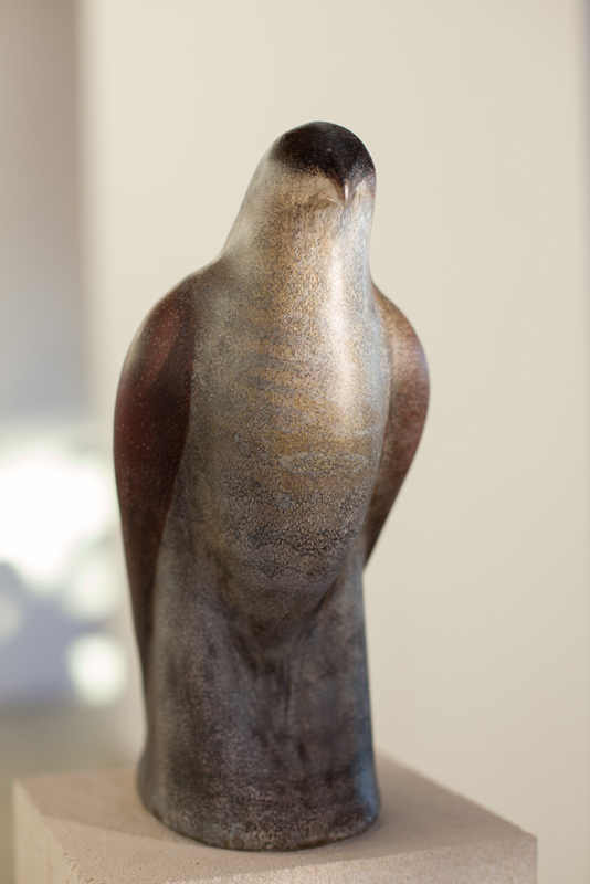 """Picasso Bird 2,"" 2015 Hand-blown pigmented glass and limetone 61 x 8 x 10"